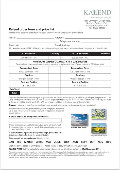 Kalend Order Form 2015